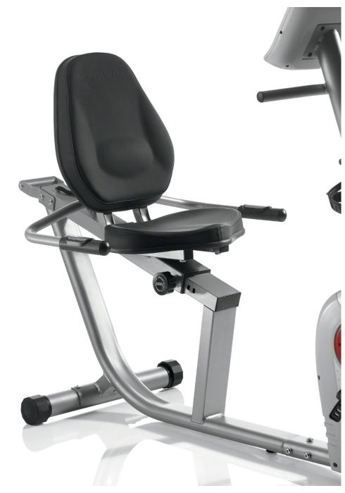 The well padded and contoured seat can slide through a variety of positions to find a setting that best suits your height and cycling preference