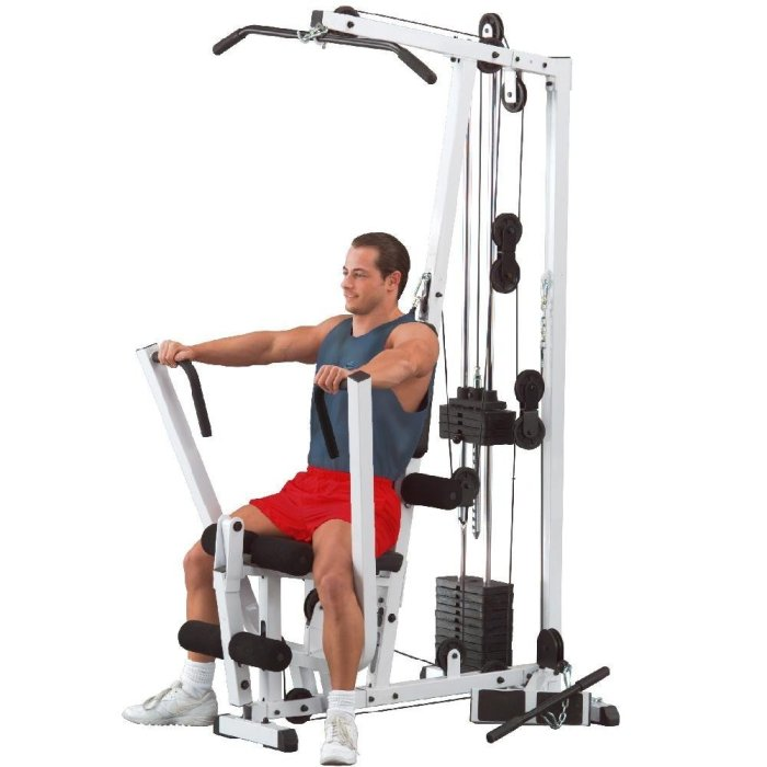 The Body Solid EXM1500S provides a number of workout stations, including one for chest press and one for seated rows