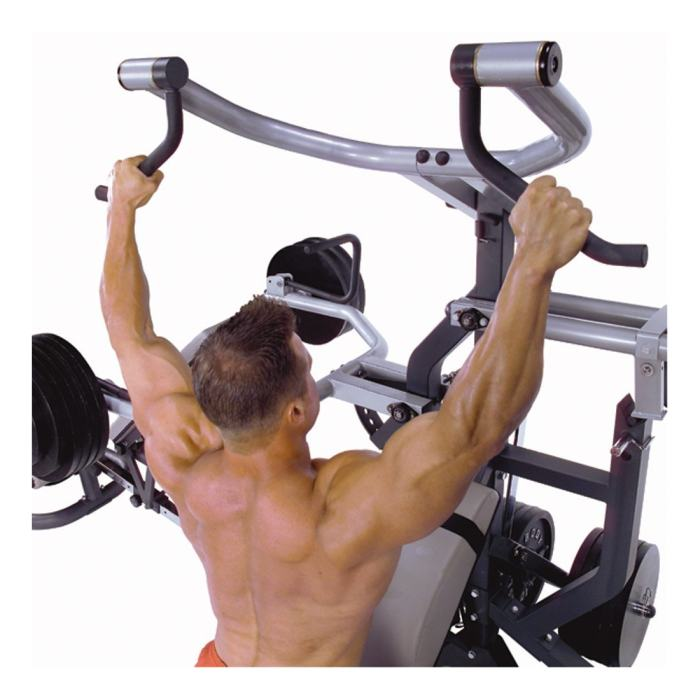 The lat pulldown station can also be used for preacher curls and even tricep pushdowns, with various attachment options