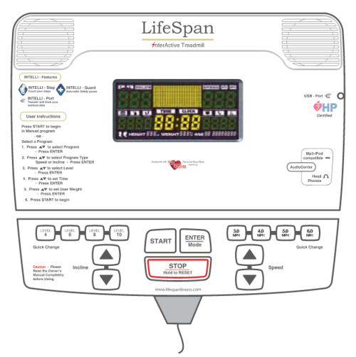 The LifeSpan TR 1200i display console features a smaller screen than many machines, but still allows you to keep track of important workout information