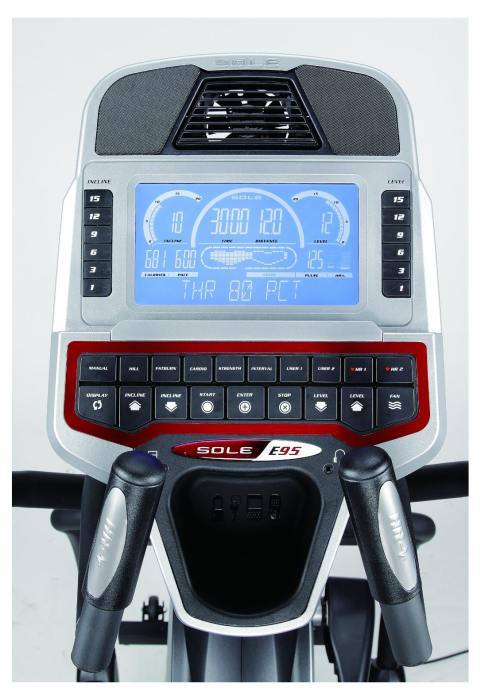 The Sole Fitness E95 display console features an extra large backlit LCD display to keep your important workout information clearly visible