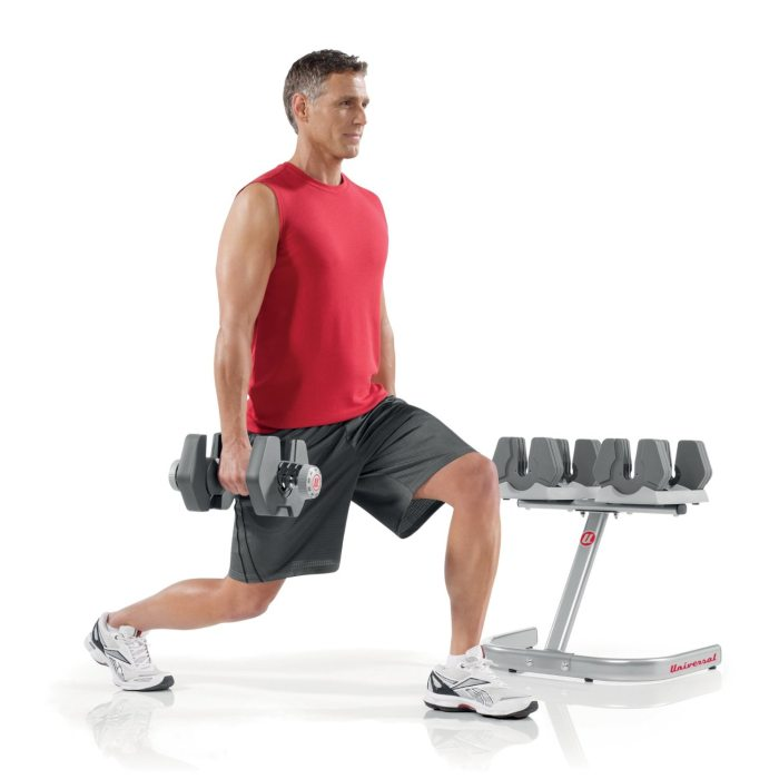 From bicep curls to lunges, the Universal Power-Pak 445 Dumbbells create more than 30 exercise possibilities