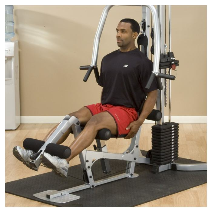 The Powerline BSG10X includes a leg developer, but can also be upgraded with a leg press attachment