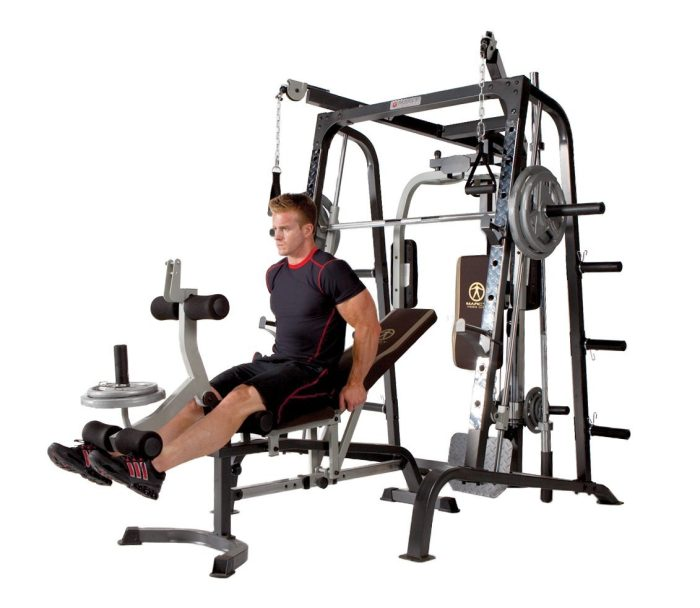 The addition of the weights bench and low cable pulley gives you exercise options that just aren't possible with many other smith machines