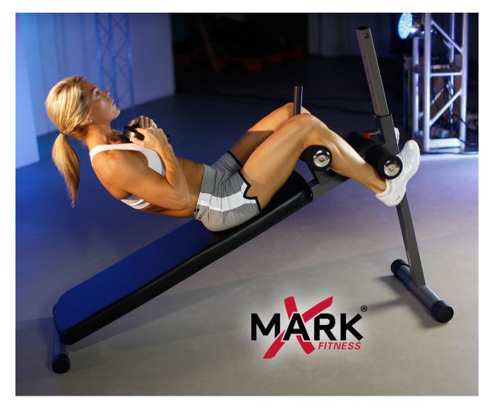 Decline weighted sit ups are possible with the XMark XM-4416 Bench due to its high weight capacity of 400 lbs