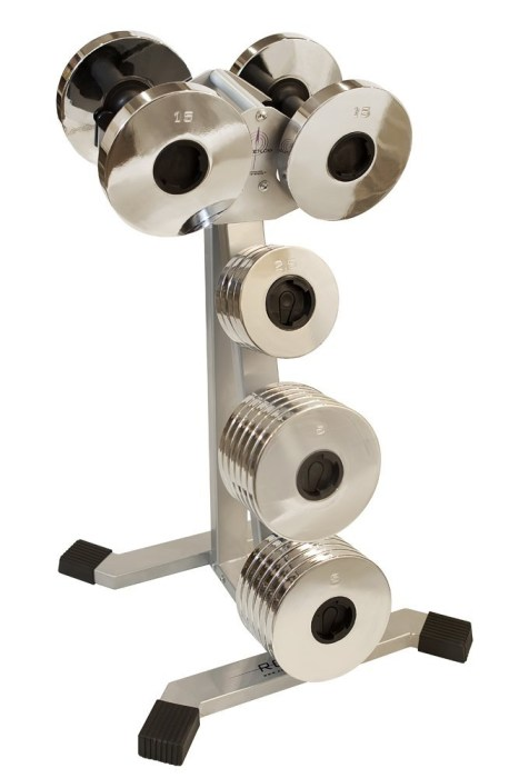 A weight stand specifically designed for the Rocketlok 100-Pound Dumbbells and plates is also available