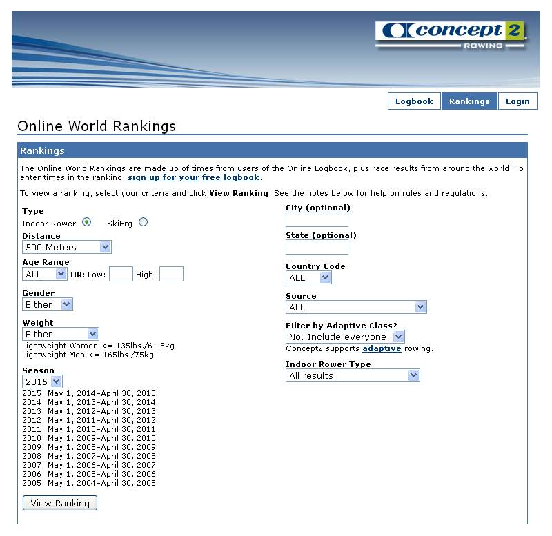 Keep up to date with the world rankings using the free online LogBook