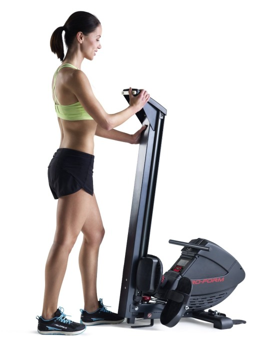 The glide rail for the ProForm 440R Rowing Machine can be quickly folded to make the best use of space when not in use