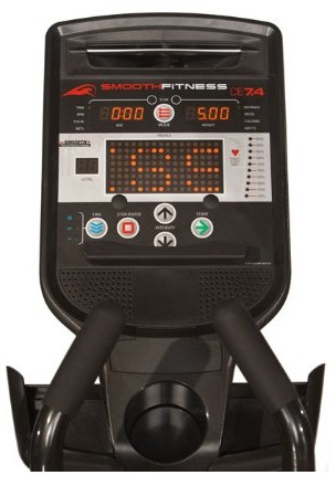 The display console features 3 LCD screens, the largest of which displays your current training profile