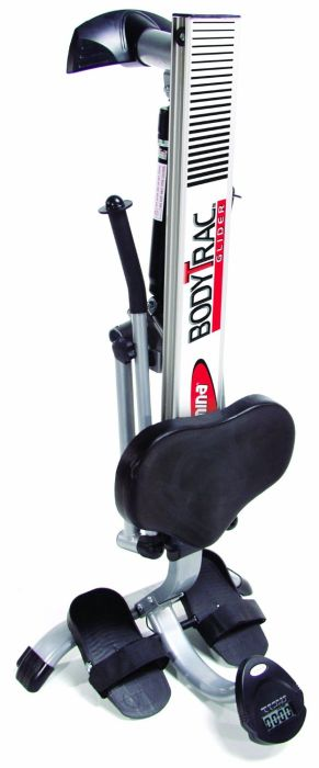 The compact frame of the rowing machine can be folded vertically for easier storage