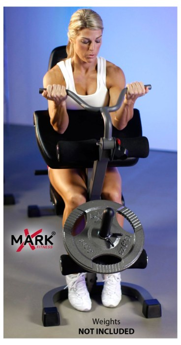 The preacher curl pad and leg developer attachment extend the range of exercises that are possible with the XM-4418 bench