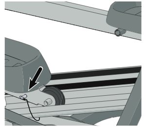 The locking pin ensures the pedals remain stationary when not in use