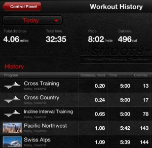 A history of your virtual workout locations and stats is stored in the memory of the mySMOOTH training app