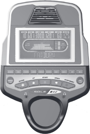 The display console for the R92 includes a range of quick-select workout program buttons and large, backlit screen