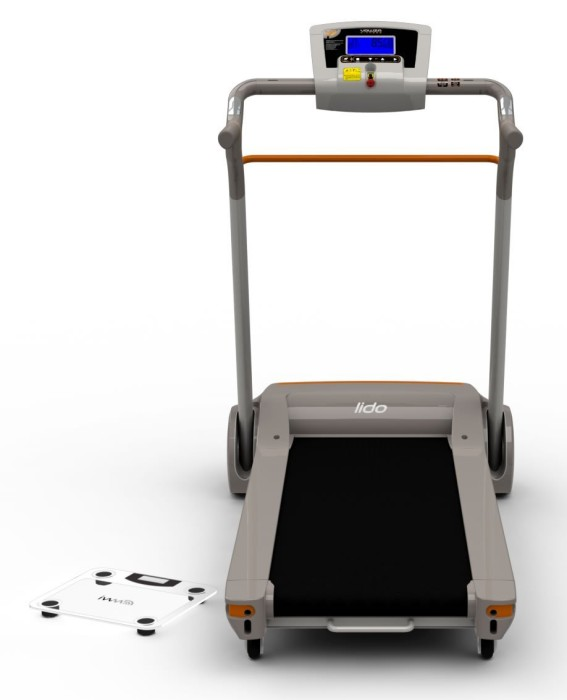 The cushioned running deck also offers a 2-position manual incline