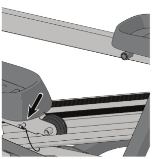 A locking pin under the pedal prevents unwanted movement in the handles when not in use