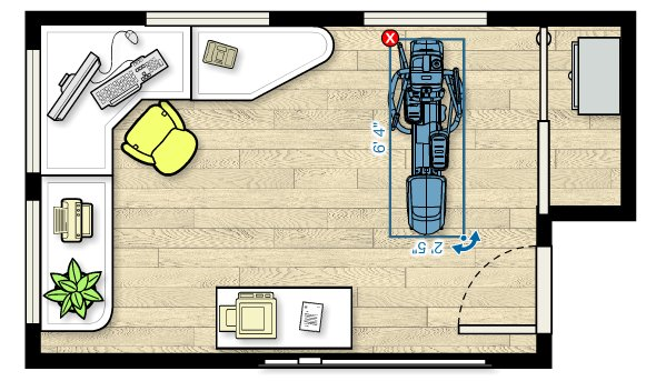 Floor plan of the EFX 225 Elliptical in a home office measuring 18'W x 11'D