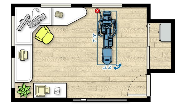 Floor plan of the EFX 425 Elliptical in a home office measuring 18'W x 13'D