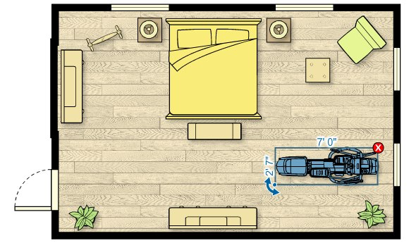 Floor plan of the EFX 447 Elliptical in a room measuring 23'W x 17'D