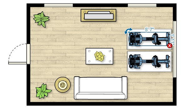 Floor plan of the RBK 815 Upright Bike in a living room measuring 20'W x 13'D