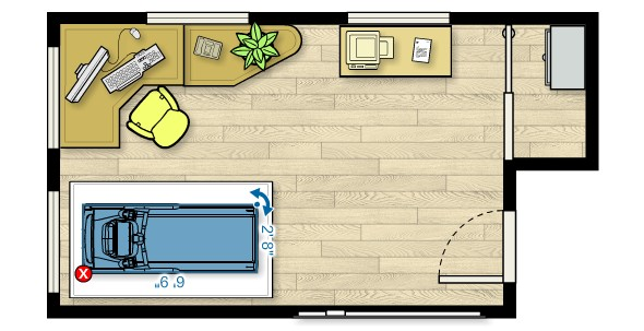 Floor plan of the TRM 211 Treadmill in a home office measuring 18'W x 11'D