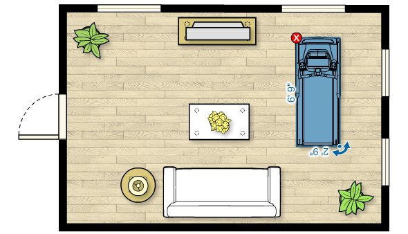 Floor plan of the TRM 223 Treadmill in a living room measuring 20'W x 13'D