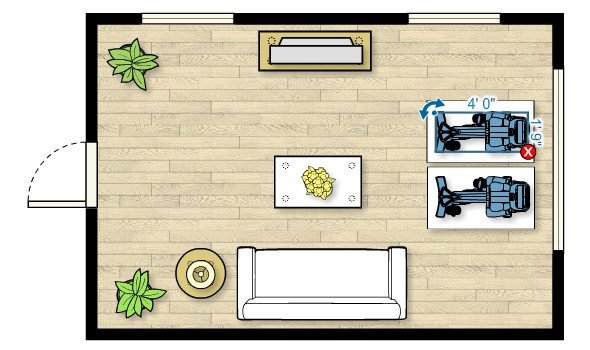 Floor plan of the UBK 815 Upright Bike in a living room measuring 20'W x 11'D