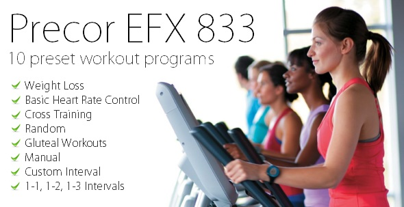 The EFX 833 features 10 workout programs in 6 categories