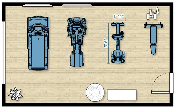 Floor plan of the RBK 615 Recumbent Bike in a home gym measuring 22'L x 13'D