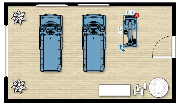 Floor plan of the UBK 615 Upright Bike in a home gym measuring 20'W x 12'D