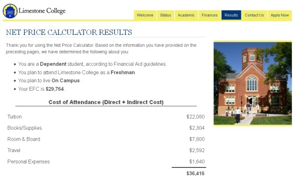 Limestone's Net Price Calculator will help determine the overall cost of your attendance