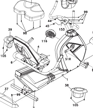 A technical drawing from the assembly instructions in the user manual