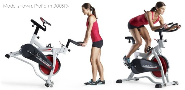 Indoor cycling bikes will often have transport wheels attached to the front base stabilizer