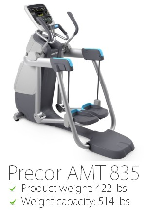 The Precor AMT 835 is one of the heaviest commercial elliptical crosstrainers available