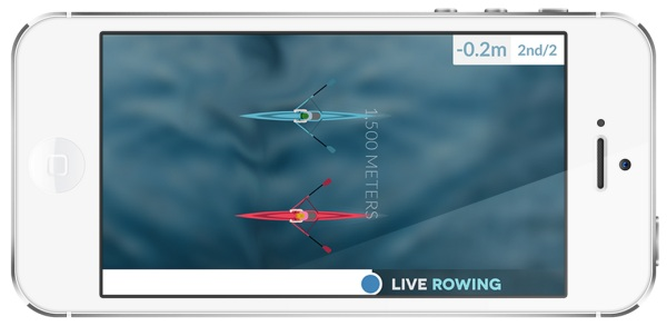 Showing the Live Rowing app in a competitive race
