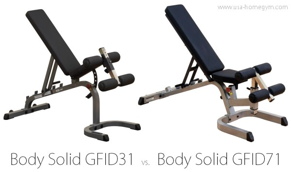 Body Solid GFID71 vs. GFID31 weight bench comparison