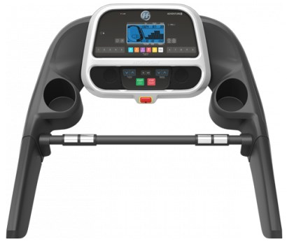 The Adventure 5 treadmill features an extra-wide blue LCD display