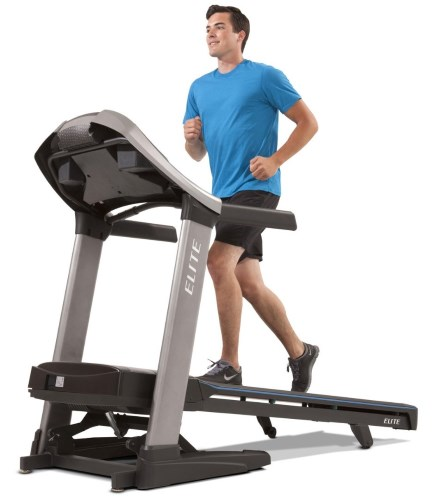 The Horizon Elite T9 treadmill features an extra large 20-inch x 60-inch running area