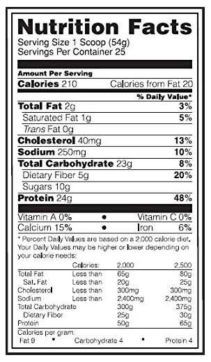 Optimum Nutrition Natural Oats and Whey Ingredients
