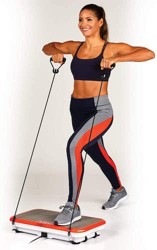 Using the PowerFit Elite vibration plate with resistance bands
